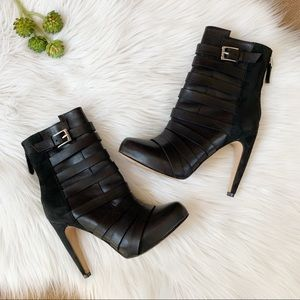 Sam Edelman Kendrix Black Leather and Suede Bootie
